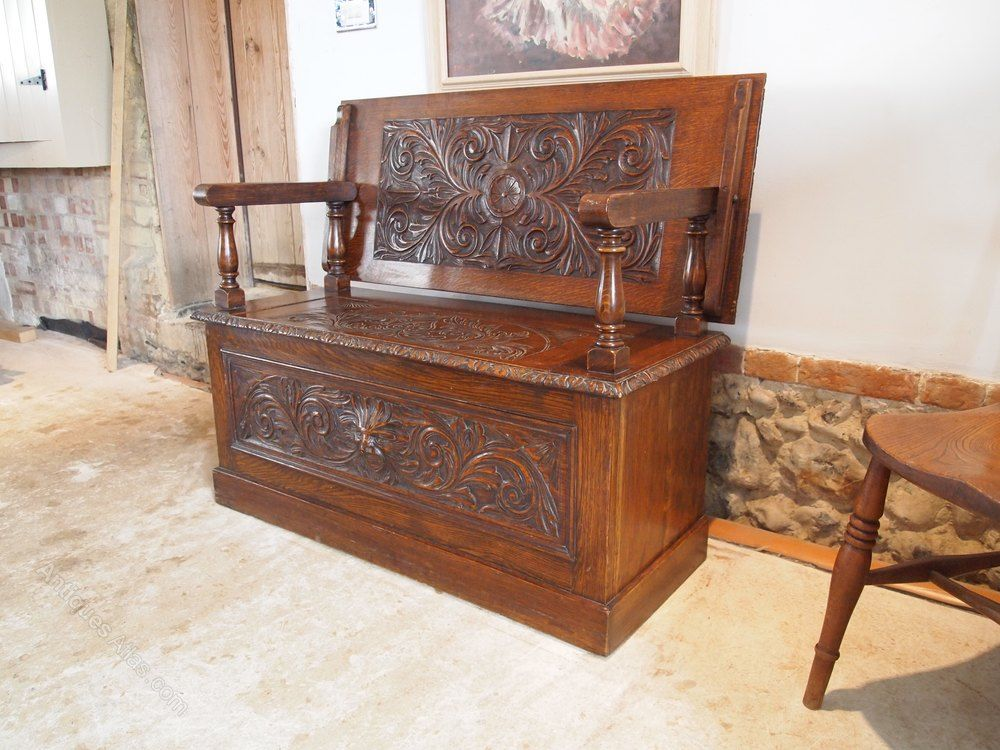Stupendous Bench Settle Monks Bench Victorian Carved Oak 1890 Theyellowbook Wood Chair Design Ideas Theyellowbookinfo