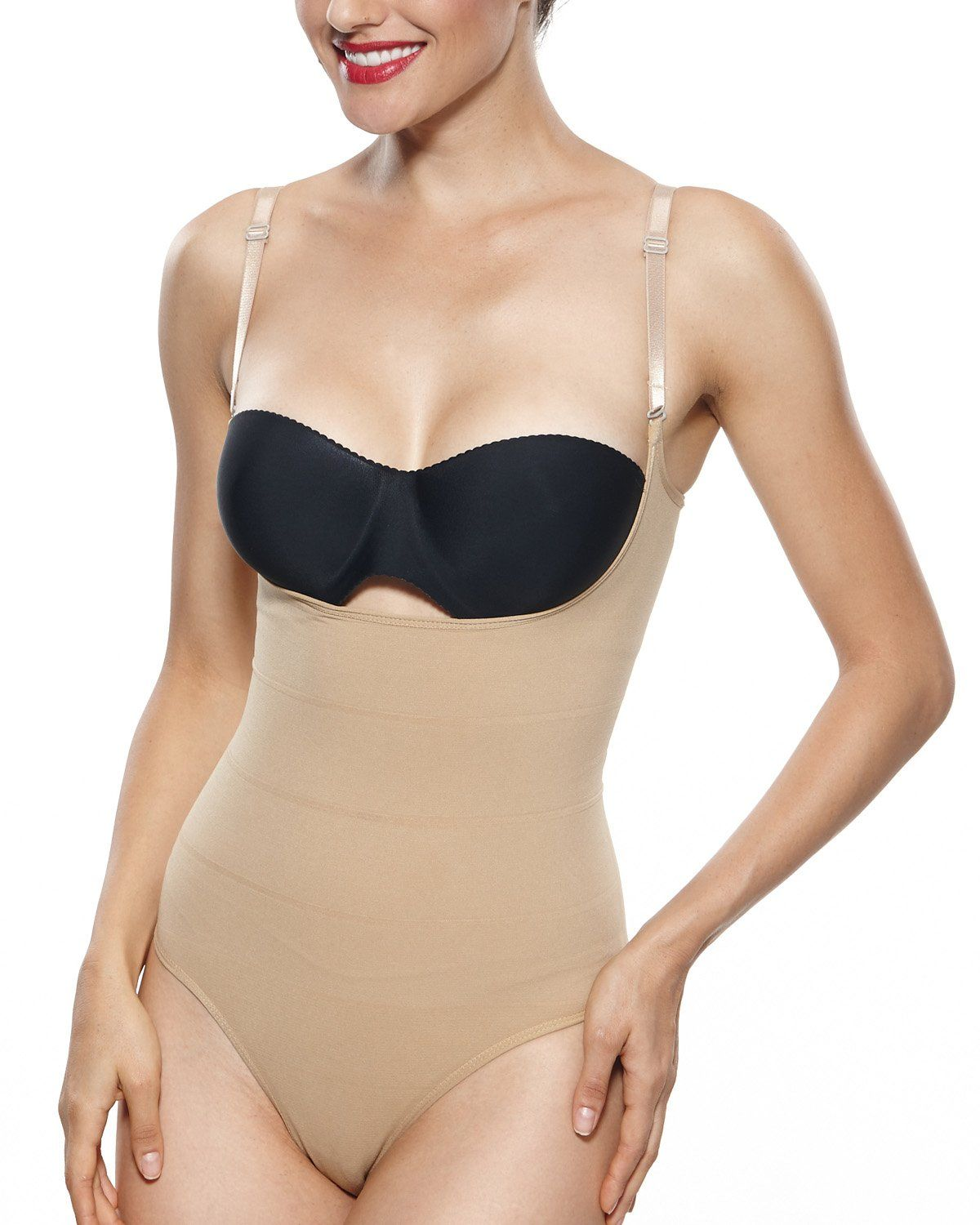 e1348b75ef39 KHAYA Womens Shapewear Body Briefer Open Bust Bodysuits Body Shaper Beige L  ** Learn more by visiting the image link. (Note:Amazon affiliate link)