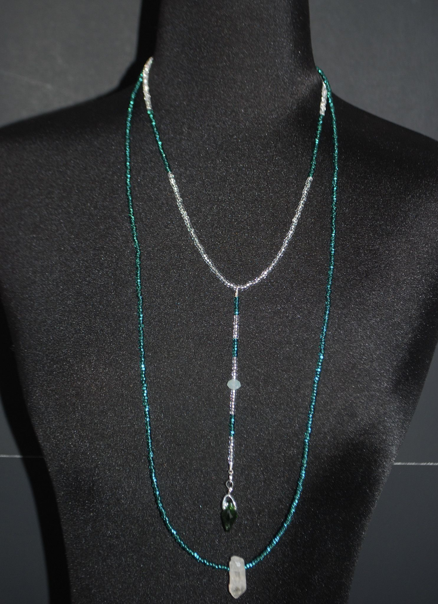Custommade Emerald and Crystal Boho Necklace