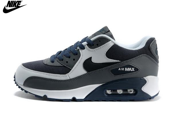 buy online 08048 104db Mens Nike Air Max 90 Leather Running Shoes Dark Grey Navy White,Nike-Air