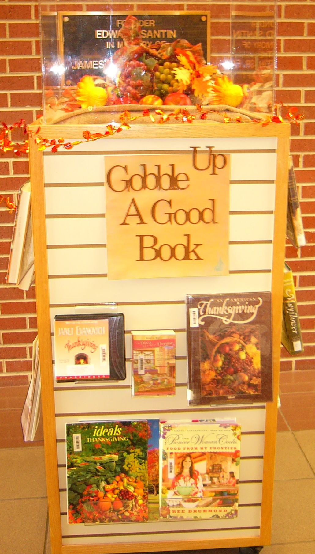Gobble Up a Good Book - good November / Thanksgiving library bulletin board phrase