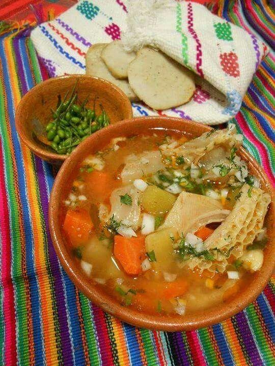 Caldo De Pata De Res Con Panza De Res Chiltepe Y Tamalitos Salvadoran Food Mexican Food Recipes Tasty Dishes