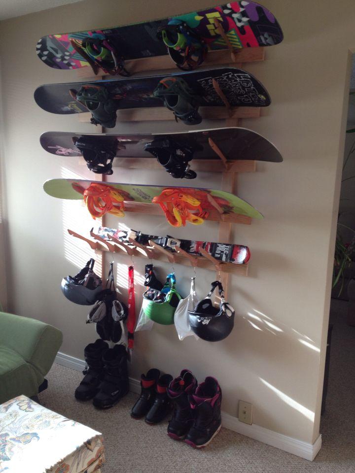 Diy Snowboard Rack Boarding Pinterest Mud Rooms