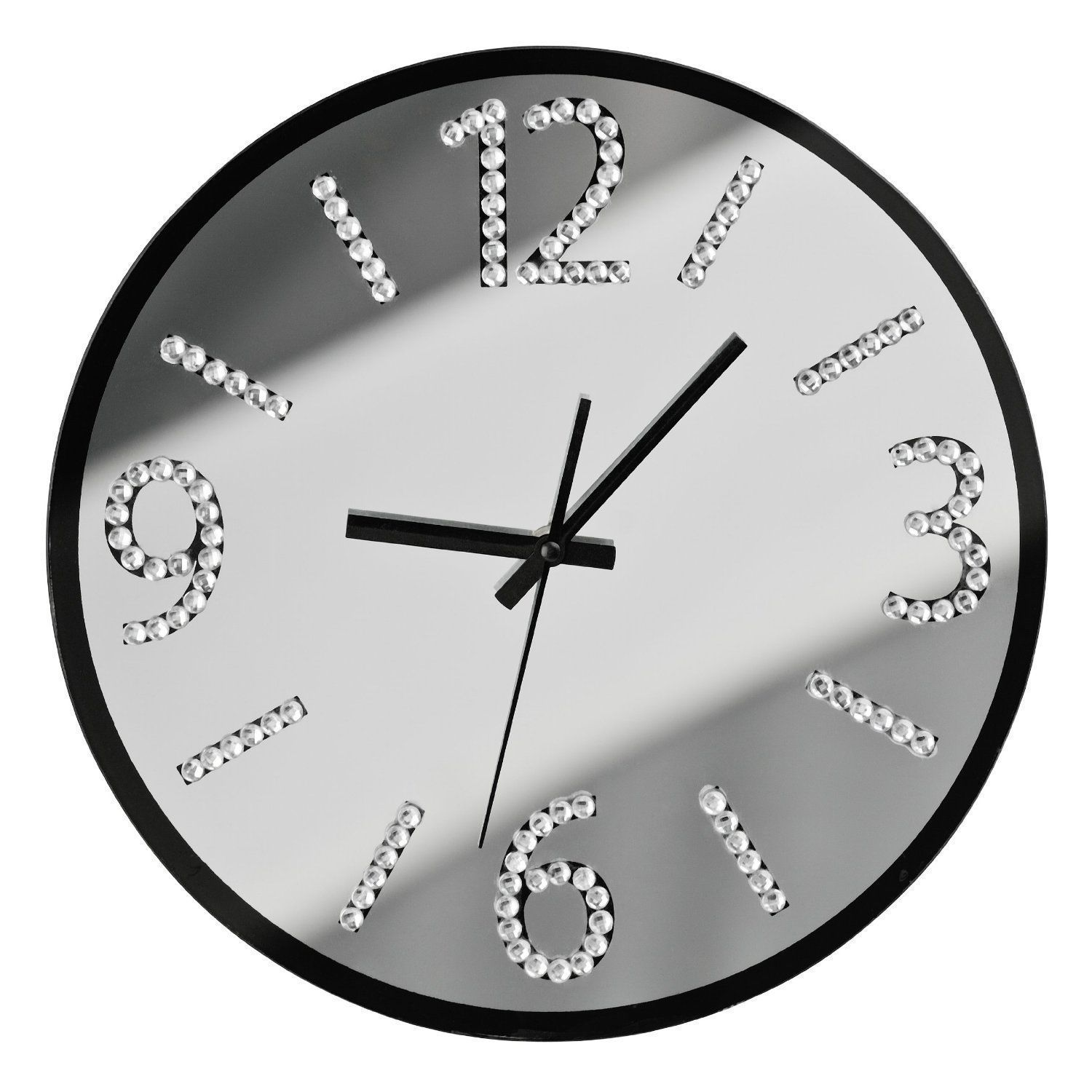 Wall clock with diamante stylish numbers silent sweep glass mirror wall clock with diamante stylish numbers silent sweep glass mirror modern new amipublicfo Image collections