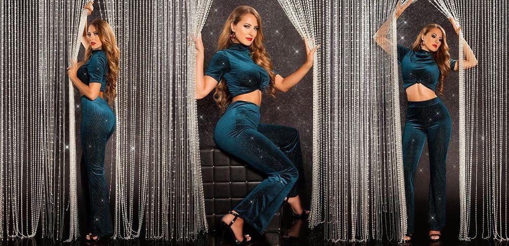 super popular 95819 79c34 Sexy Completo Vestito donna in Velluto Top e Pantalone con ...