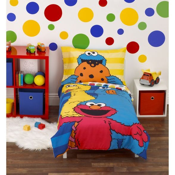 Sesame Street 4pc Toddler Bedding Set Blue in 2020 ...
