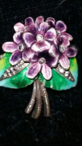 Antique-Vintage-Solid-Silver-Enamel-Violet-Flower-Bouquet-Brooch-Pin-800