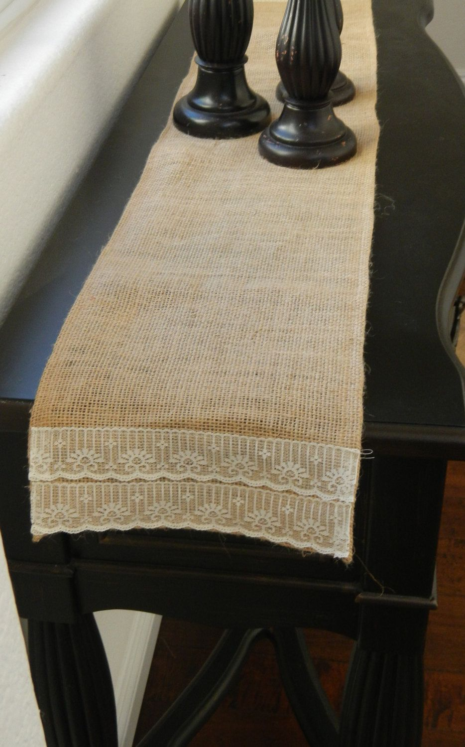 Burlap Table Runner With Lace For Entryway Side
