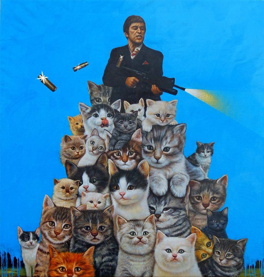 Exposición de arte dedicada totalmente a los gatos en Los