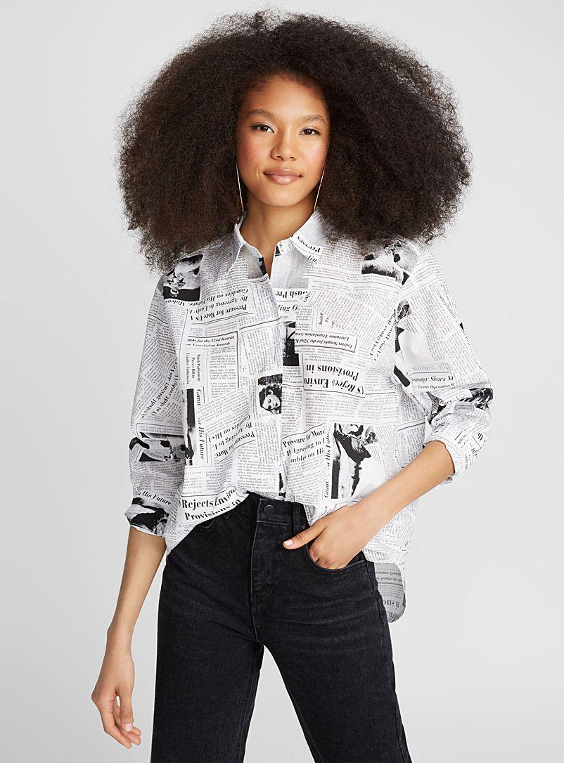 fc3b5649 Newspaper-print shirt in 2019   Feminine Tomboy Fashion   Printed ...