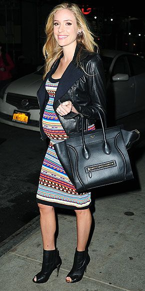 Kristin Cavallari's Fun & Fearless Bump Style   MOM'S NIGHT OUT   Who says being pregnant means you have to tone down the sex appeal? Cavallari keeps things spicy on March 12 in N.Y.C. in a boho Emilio Pucci tribal dress with Samantha Wills stud earrings and ring.