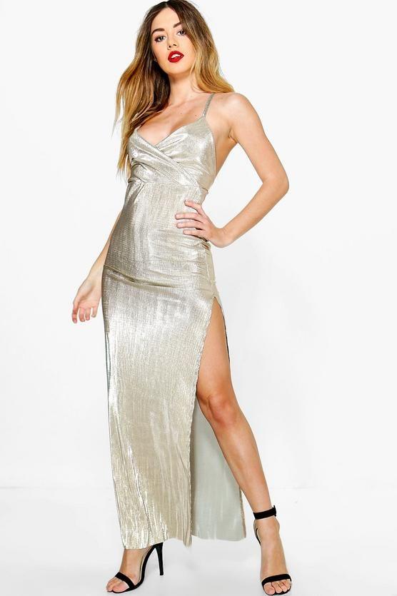 8f55e88e6714b Petite Amy Metallic Strappy Thigh Split Maxi Dress Petite Outfits, Petite  Dresses, Boohoo Petite