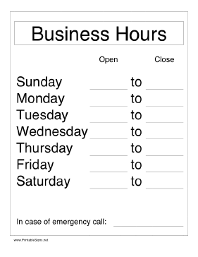 List your store or office hours with this printable business hours ...