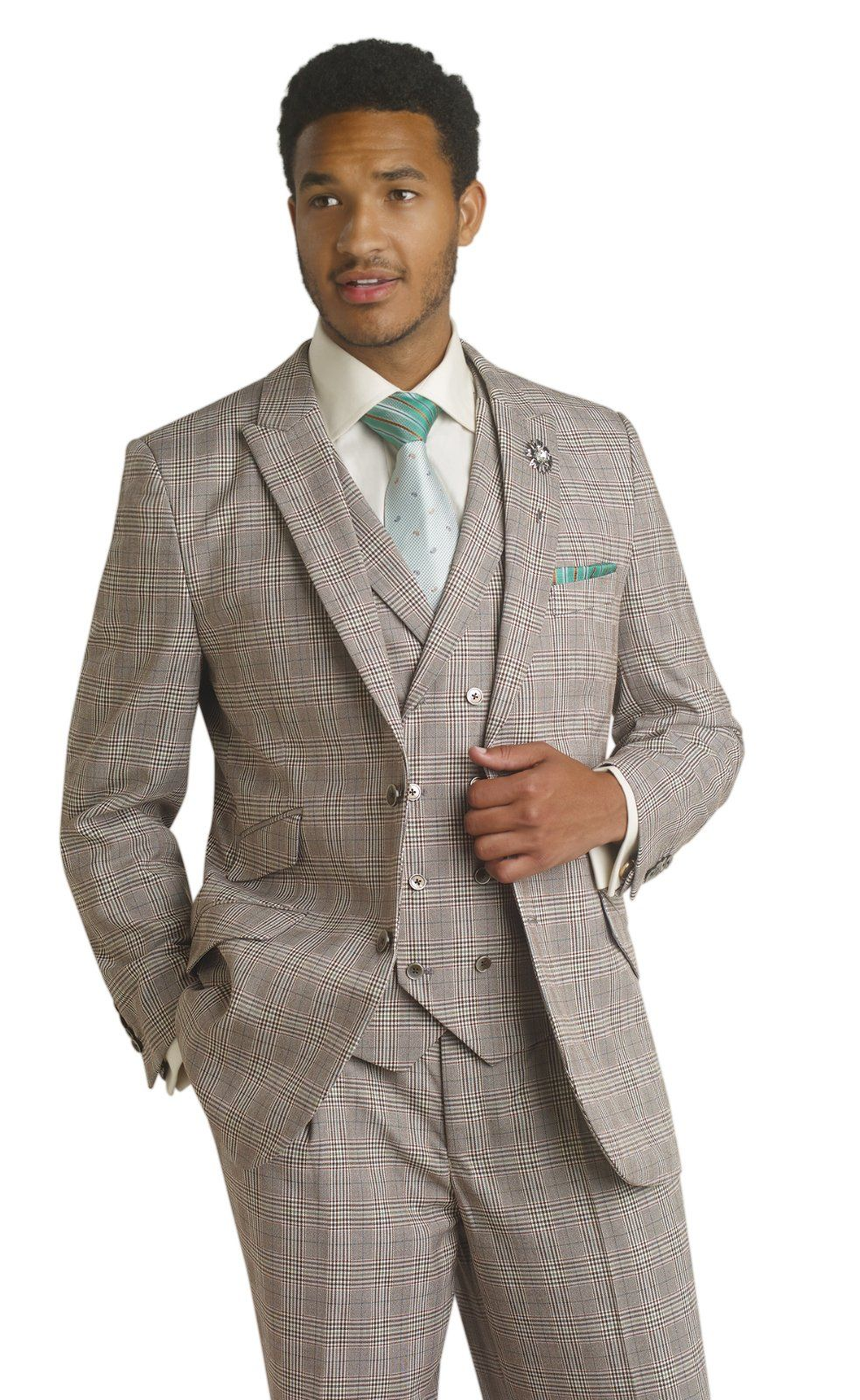 EJ Samuel Mens Chocolate Brown Plaid Double Breasted Formal Dress ...