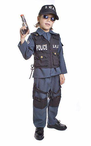 Deluxe Childrens Swat Police Officer Costume Set Medium