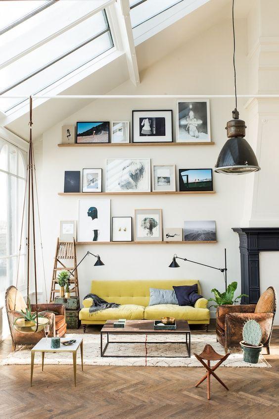 Scandinavian interior decor, Scandi living room, yellow sofa, eclectic interior, eclectic living room, wooden floor, wall gallery