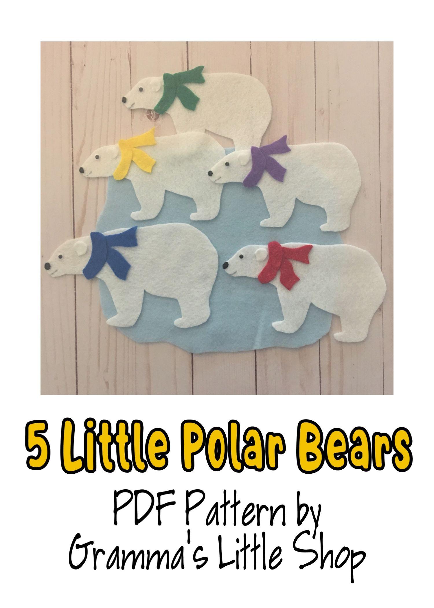 5 Little Polar Bears Felt Story Pattern