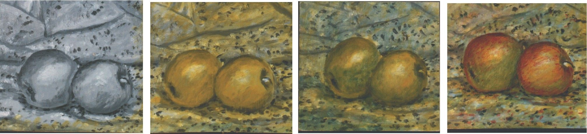 colour glazing over black and white tones - value painting