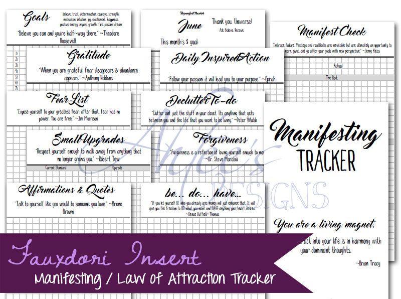 Monthly Manifesting / Law of Attraction Goal Tracker by