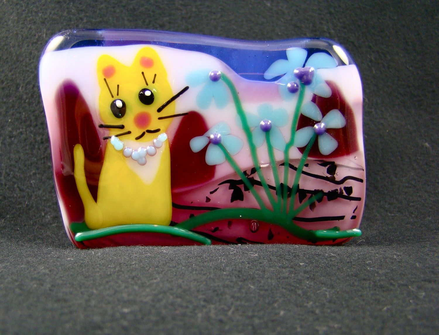 Fused glass kitty cat business card holder business card holders fused glass kitty cat business card holder colourmoves Choice Image