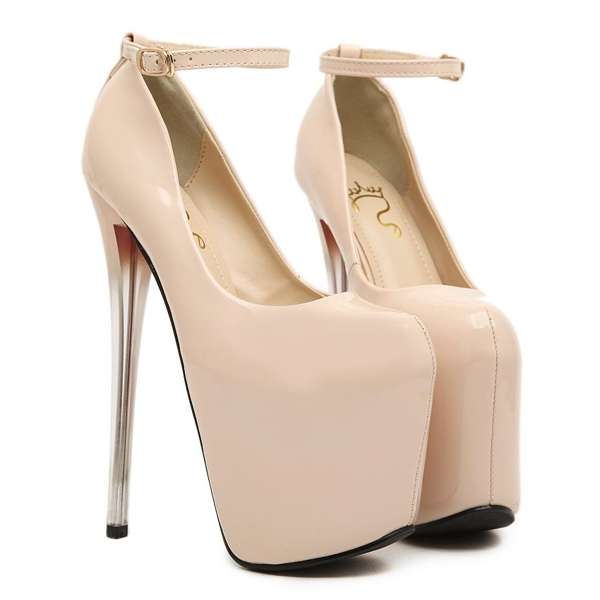 3c0cb3b1b73 19CM Super High Heels Women Pumps Round Toe Patent Leather Pumps For Women  Ankle Strap Sexy