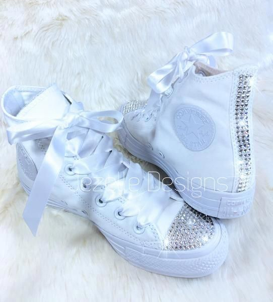 aa93ce7e6ce4 All White Bedazzled Converse. Fantastic As a Pair of  Ultimate Bling  Converse  As Well As The Perfect Wedding Converse For Bride