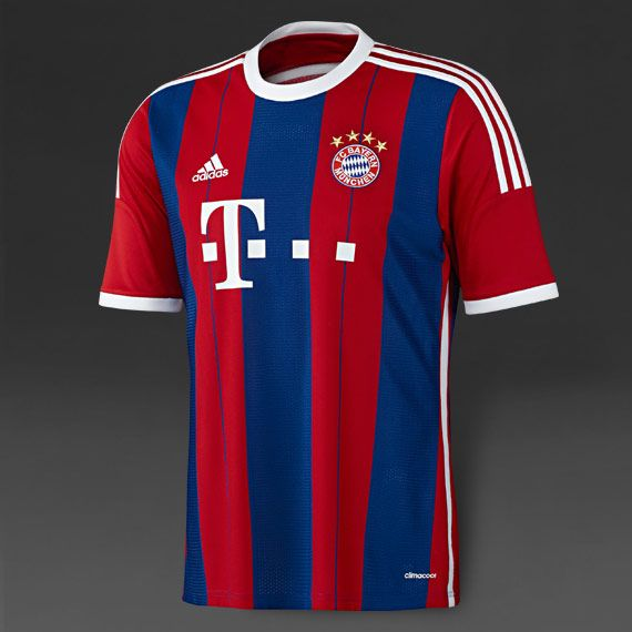 Adidas FC Bayern Munich 14-15 SS Home Shirt - Red-Royal-Wht. Football  UniformsFootball SoccerFc ...