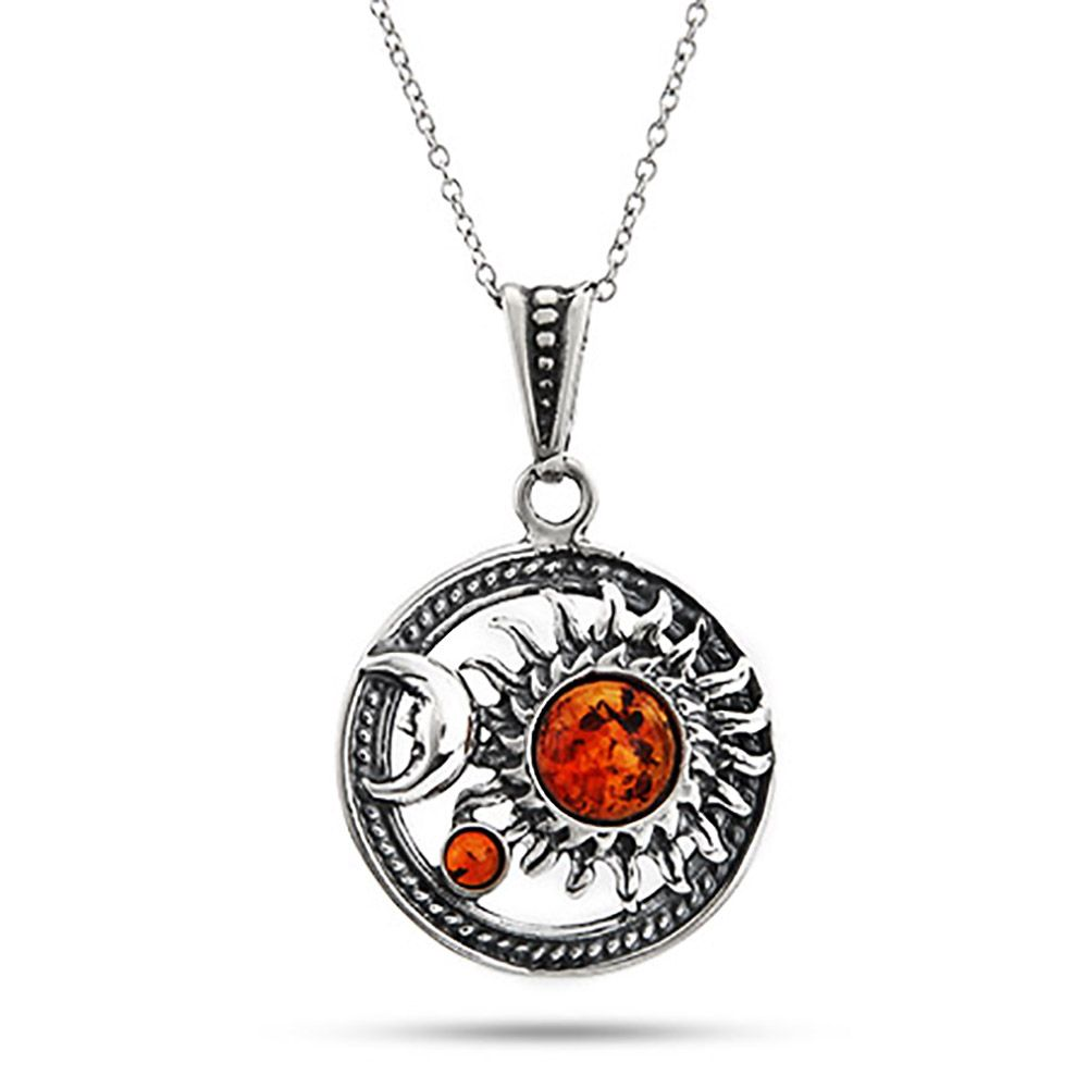 sun pin celestial moon pendant sterling necklace amber baltic and silver golden