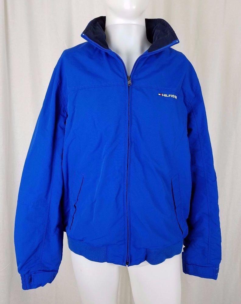 Tommy Hilfiger Logo Sailing Jacket Mesh Lined Windbreaker Mens Large Hidden Hood Outerwear Fashion Fashion Windbreaker Jacket [ 1000 x 792 Pixel ]