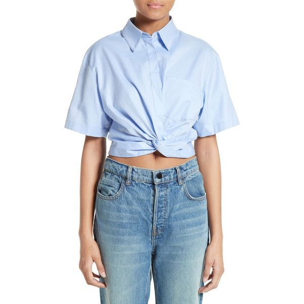 2436ace2d9d70 T by Alexander Wang Twist Front Crop Shirt (€69) ❤ liked on Polyvore  featuring tops
