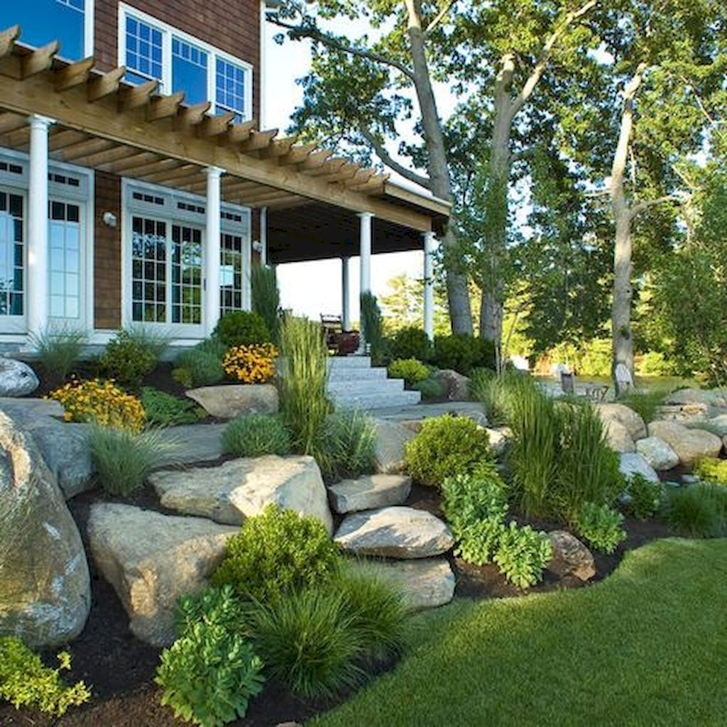 21 Landscaping Ideas For Slopes: Awesome 70 Gorgeous Front Yard Rock Garden Landscaping