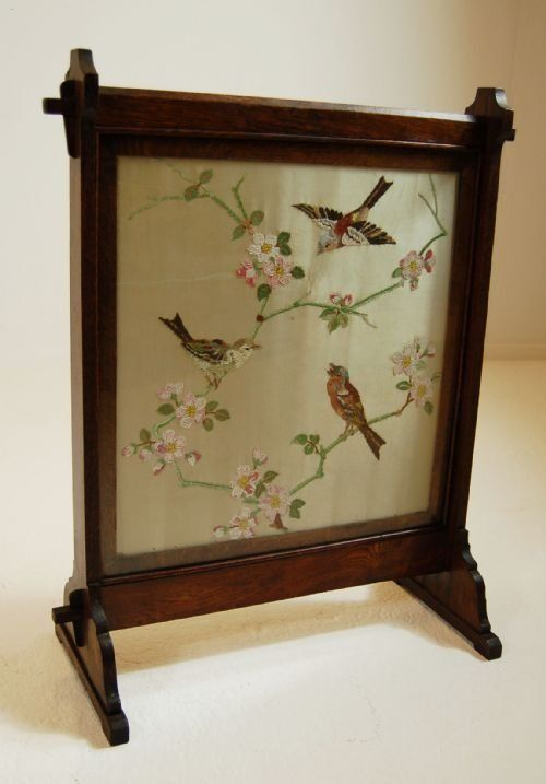English Victorian Embroidered Fire Screen With Oak Frame C 1880