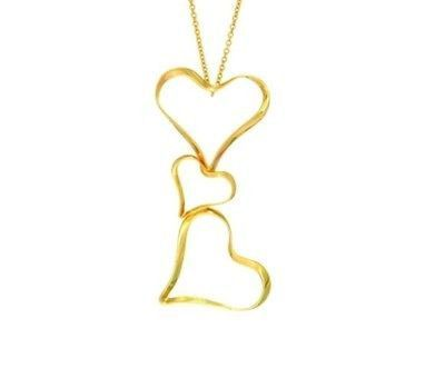 14kt Yellow Gold Shiny Twisted Heart Pendant on Diamond Cut Cable Link Chain