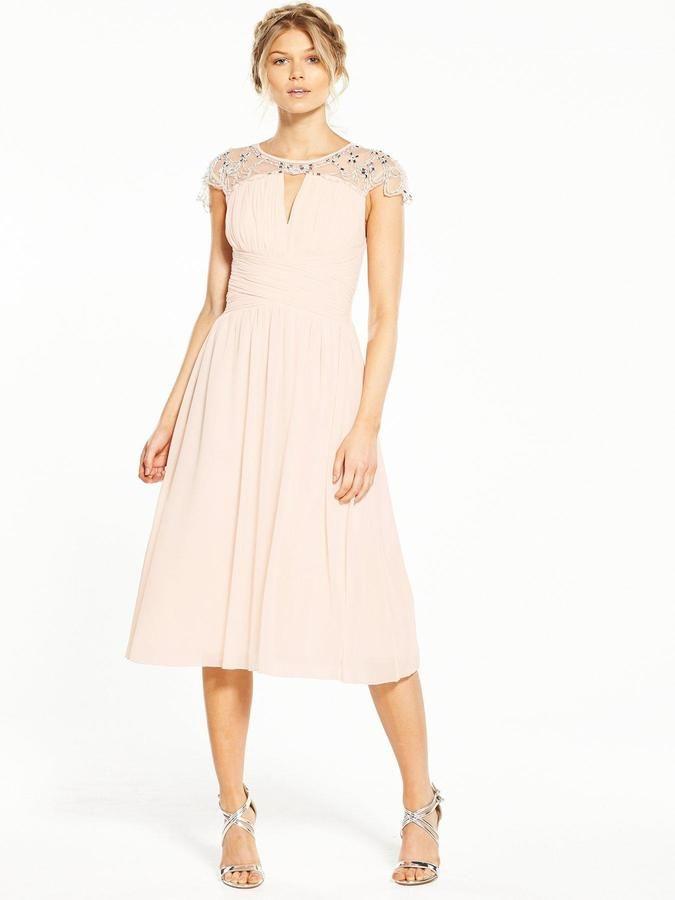 830310bcd72 Little Mistress Petite Cap Sleeve Embellished Midi Dress - Nude  delicate   affiliate