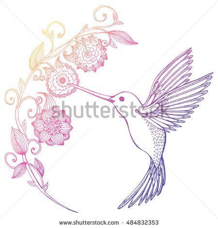 1f01b7db8 Flying Hummingbird. Hummingbird and flowers. Stylized bird ...