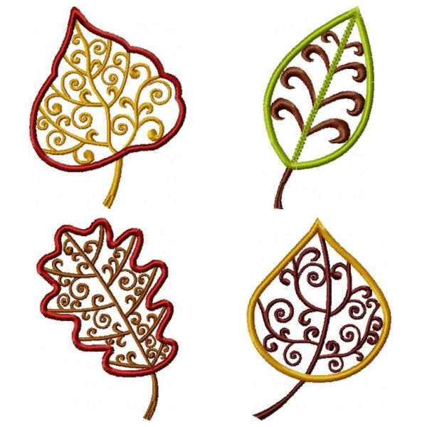 Free fall leaf embroidery design quot elegant leaves oma