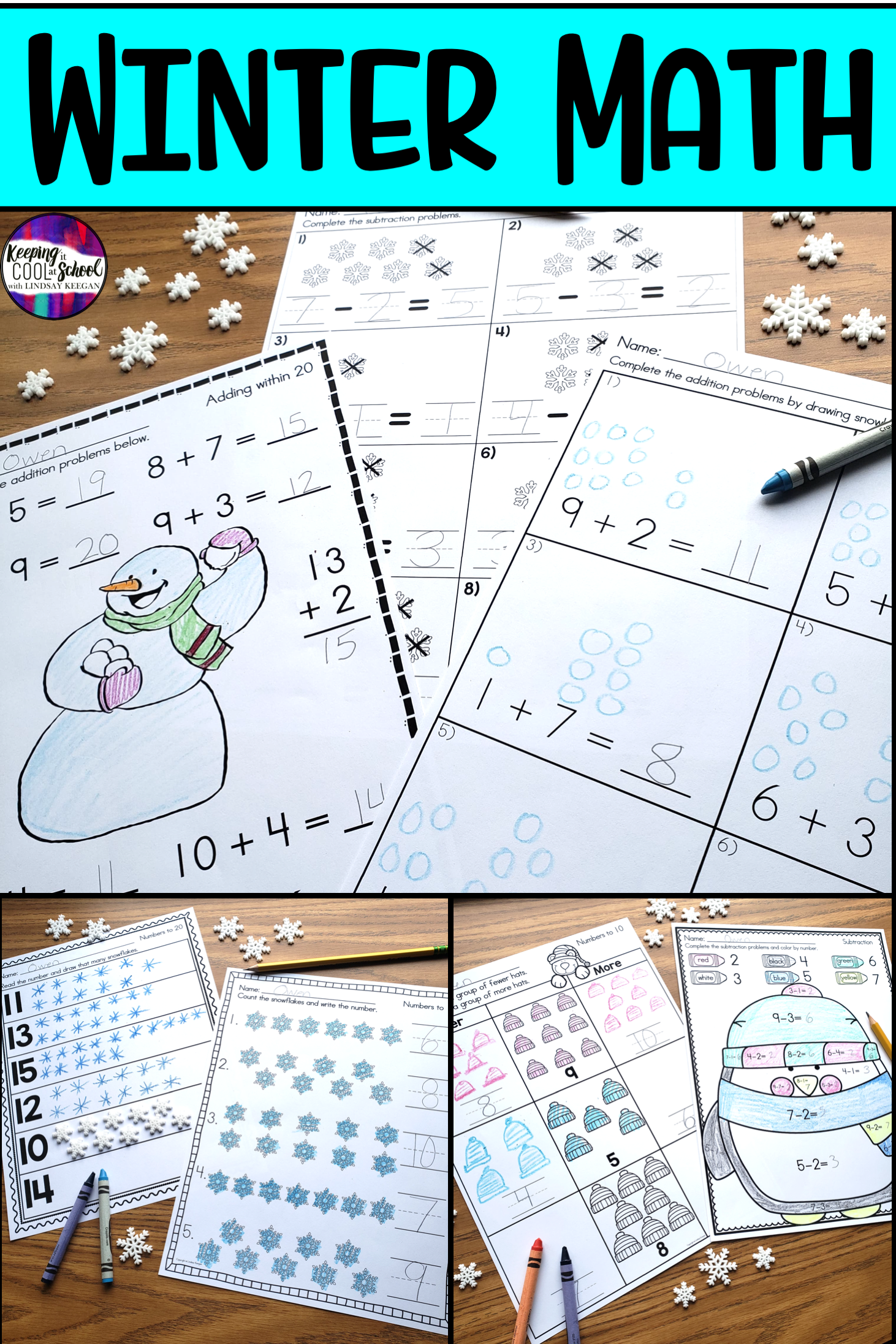 Students Love These Winter Themed Math Worksheets That
