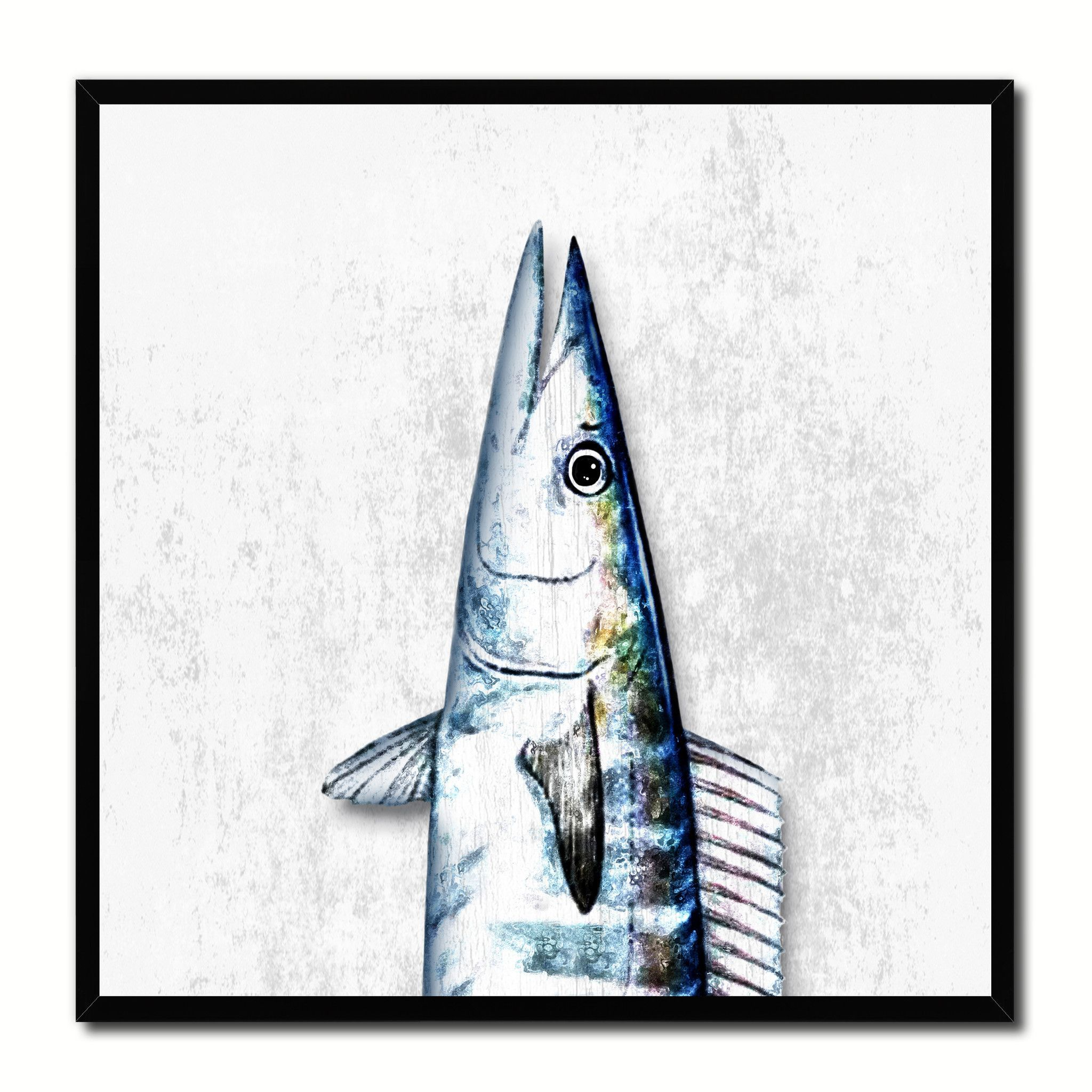 Wahoo Fish Head Art White Canvas Print Picture Frame Wall