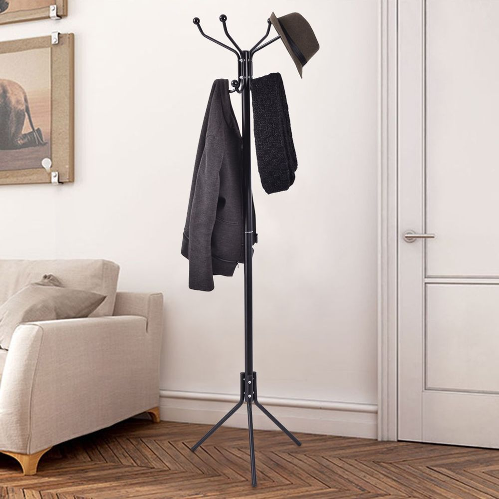 Coat Stand Hat Jacket Rack Metal Hanger Tree Hooks Umbrella