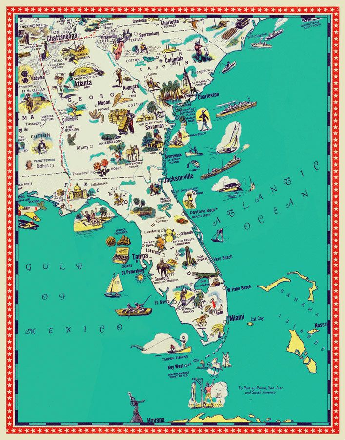 Florida And Georgia Map.Florida Map Georgia Map South Carolina Map Illustrated Map