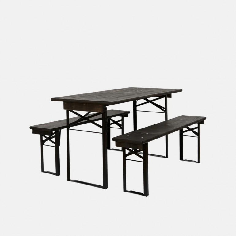 Table Berlin Noire 164cm Table Banc Table Brasserie Table