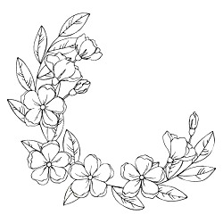 Vector Black White Contour Simple Sketch Of Decorative Flowers And Leaves Wreath Flower Sketches Wreath Drawing Flower Pattern Drawing