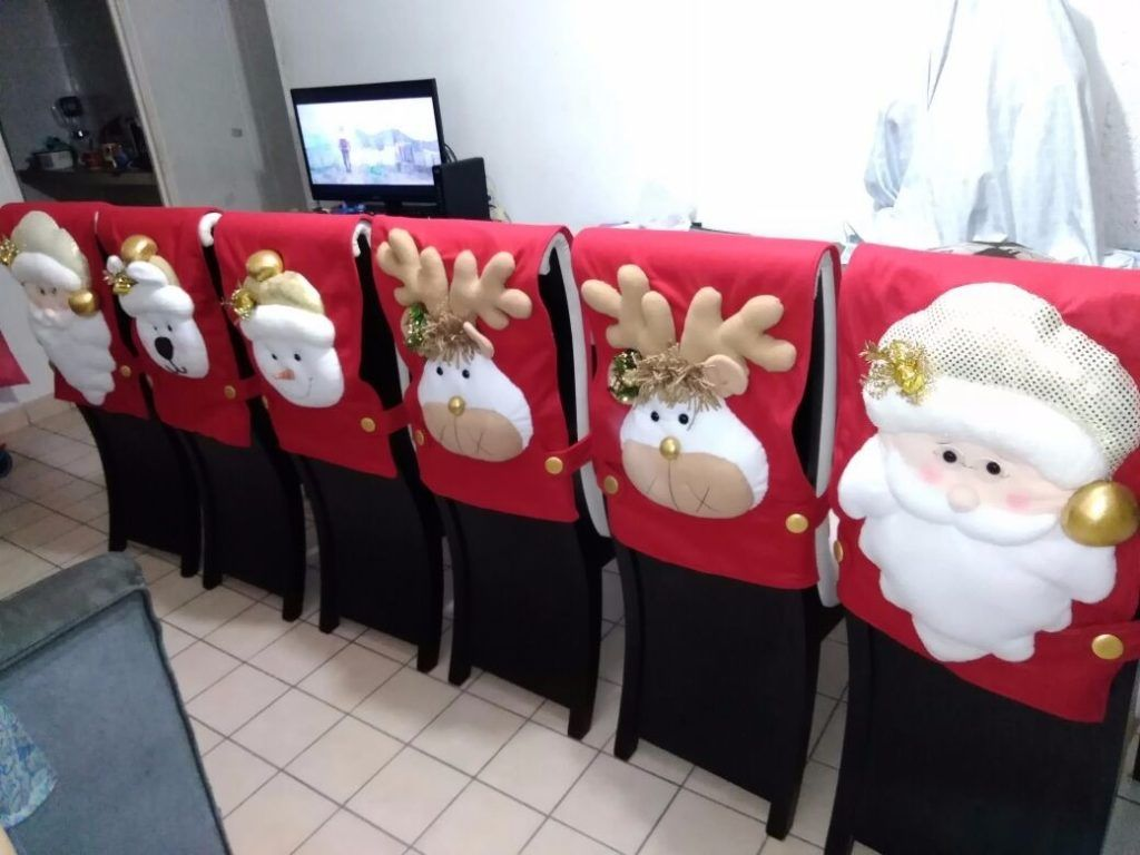 Como hacer cubre sillas navide os con patrones flores - Adornos navidenos para sillas ...