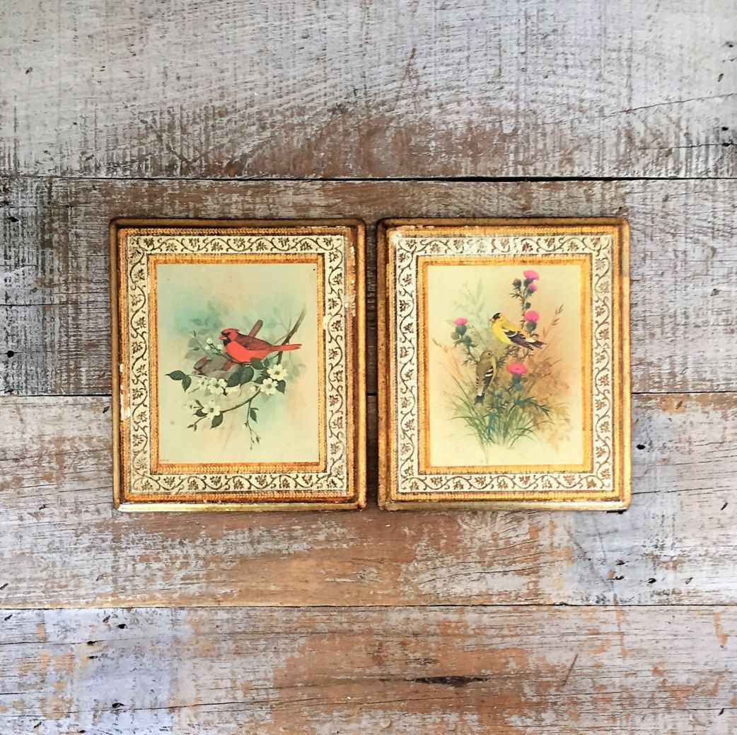 Bird Wall Art 2 Bird and Flowers Prints on Wood Made in Italy ...