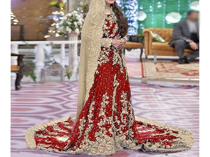 a9fba3d1cb Heavy Embroidered Red Chiffon Bridal Maxi Dress For more details and real  pictures visit: PakStyle.pk #womensdresses #bridaldresses #weddingdresses  ...