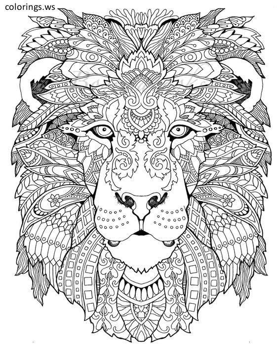 Lion Mandala Drawing Adults Coloring Page, Adults Coloring ... | mandala coloring pages for adults animals