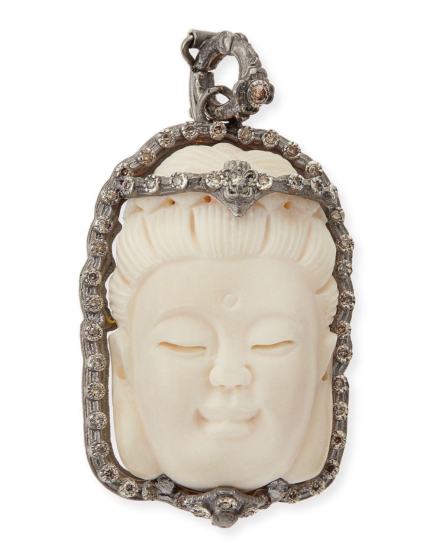 Armenta New World Carved Buddha Enhancer with Champagne Diamonds kd94H