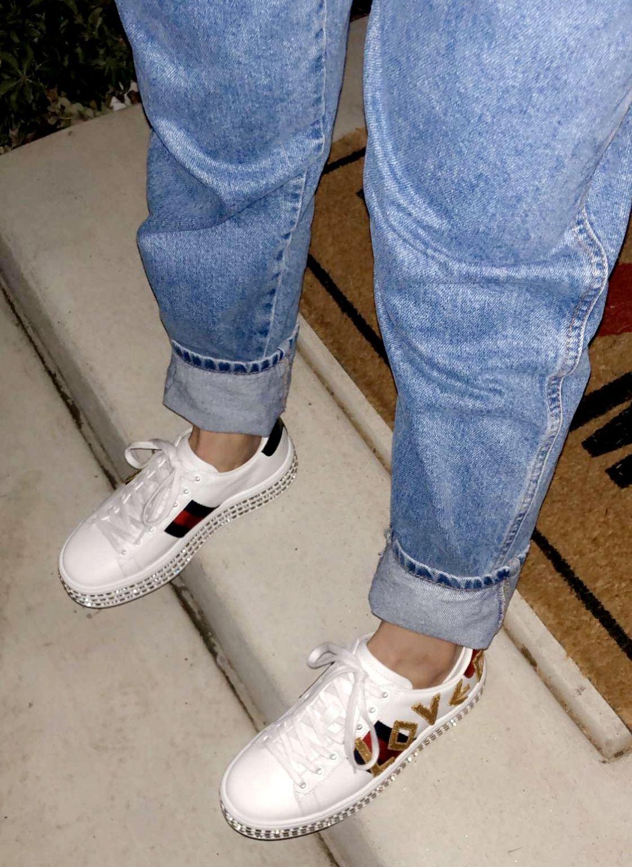 Platform Gucci rhinestone sneakers