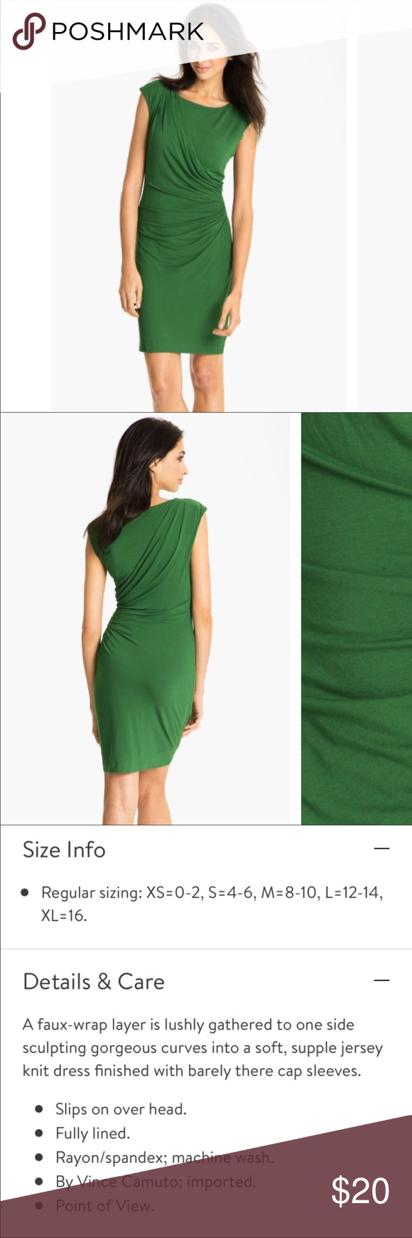 Vince Camuto Emerald Green Ruched Sheath Dress L Sheath Dress Dresses Large Size Dresses [ 1740 x 580 Pixel ]