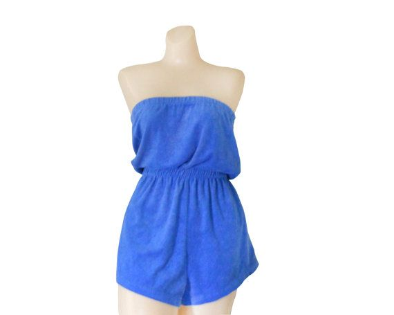 8f7e34a17892d Terry Cloth Cover Up Periwinkle Women Romper Shorts Bathing Suit ...